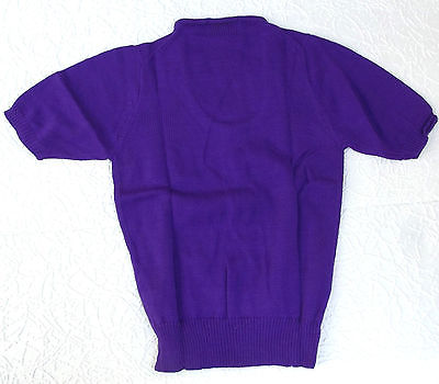 Vintage ladies top Size 8-10 1960s purple knitwear Fully fashioned jumper UNUSED